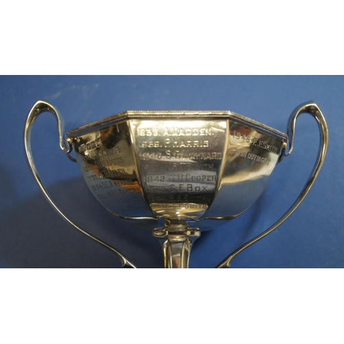 16 - A silver twin handled trophy cup, by Harrison Brothers & Howson, Sheffield 1929, 270g, 15cm....