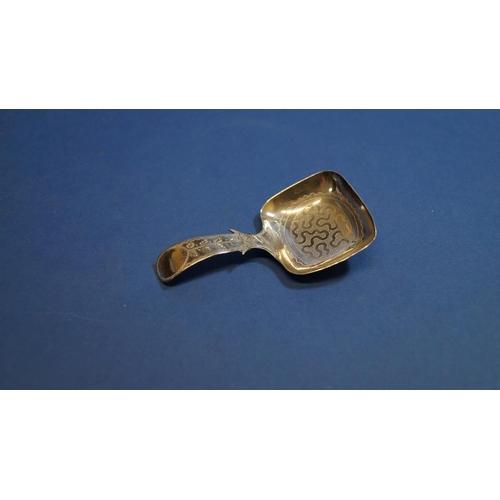 30 - A George III silver caddy spoon, having wrigglework decoration to bowl, by Cox & Bettridge, Birmingh...