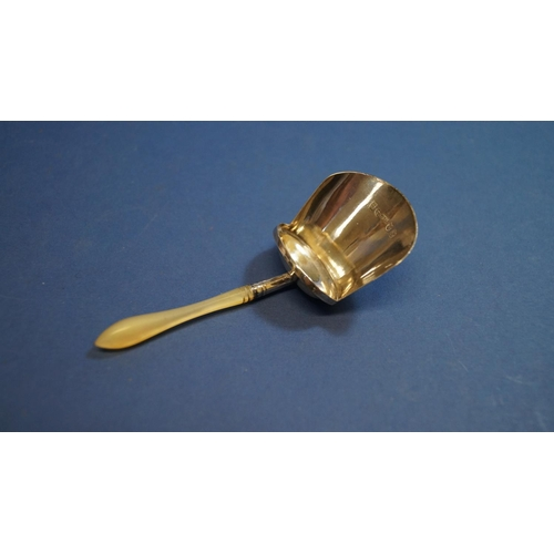 31 - A George III silver caddy spoon, having mother of pearl handle, by Joseph Wilmore, Birmingham 1810, ...