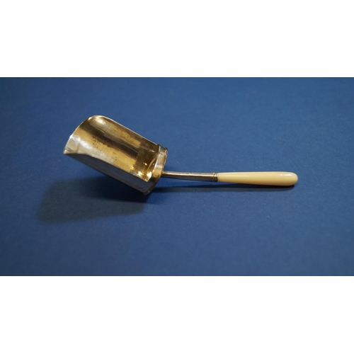39 - A silver caddy spoon having ivory handle, by W.E, London 1823, 10.3cm....