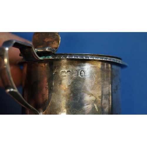 7 - A Georgian silver mustard pot, by Charles Thomas Fox, London 1825, of cylindrical form with gadroone...