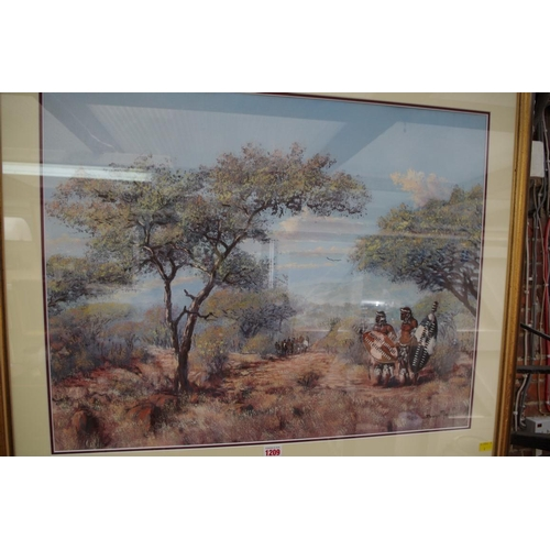 1209 - <strong>African School,</strong>Zulu figures in a scrubland, indistinctly signed, oil on canvas, 54...