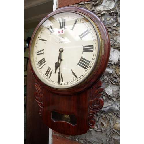 1216 - <strong>A mahogany drop dial wall timepiece, </strong>the 11½ in painted dial inscribed 'Gibbs, St N...