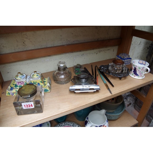 1224 - <strong>A mixed lot of ceramics and sundry,&nbsp;</strong>to include inkwells. (two shelves)...