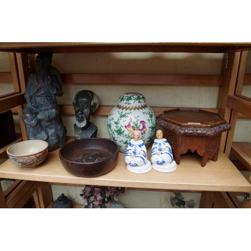 1227 - <strong>A mixed lot,</strong> to&nbsp;include Oriental items. (two shelves)...