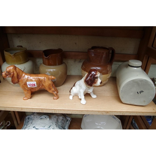 1228 - <strong>A Royal Doulton cocker spaniel HN1187;</strong>&nbsp;together with other stoneware jugs.&nbs...