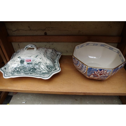 1229 - <strong>A Mason's 'Applique' octagonal bowl,</strong> 21.5cm wide; together with another Mason's 'Ga...