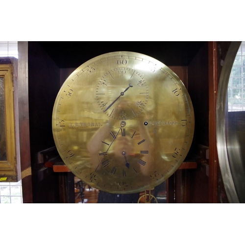 1764 - <strong>A Victorian Welsh mahogany longcase regulator, </strong>14in brass circular dial inscribed '...