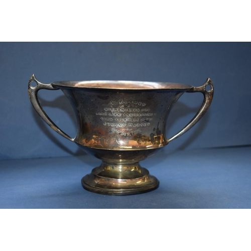 10 - <strong>An Edwardian silver twin handled trophy cup, </strong><em>by Lee &amp; Wigfall, </em>Sheffie...