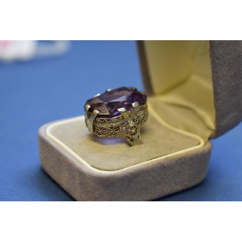 102 - <strong>An American 14k large amethyst ring, </strong><em>by Belais Bros.</em>...
