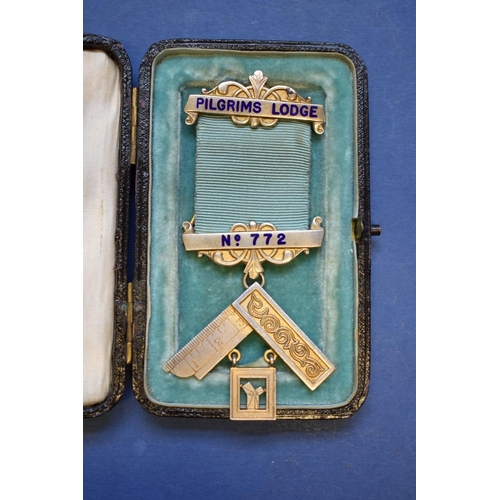 130 - <strong>A cased silver gilt Masonic medal,</strong> inscribed Pilgrims Lodge, No. 772....