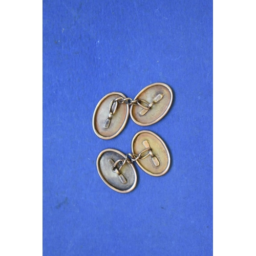149 - <strong>A pair of 9ct gold oval cufflinks, </strong>4g....
