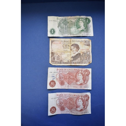 155 - <strong>Two Bank of England 'Beale' £1 notes;</strong> together with five other U.K bank notes and s...