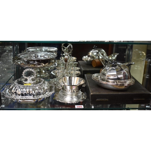 165 - <strong>A quantity of silver plate,</strong> to include an EPNS entree dish....