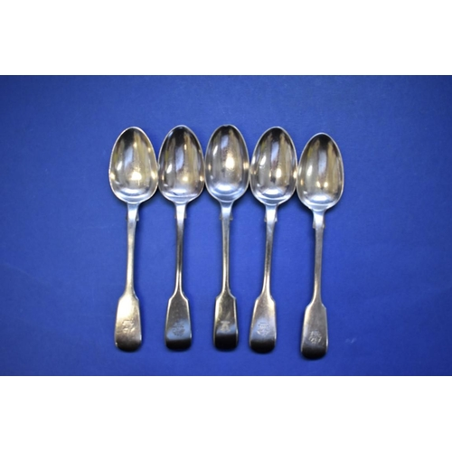 24 - <strong>A quantity of silver fiddle pattern flatware,</strong> various makers and dates, 1178g; toge...