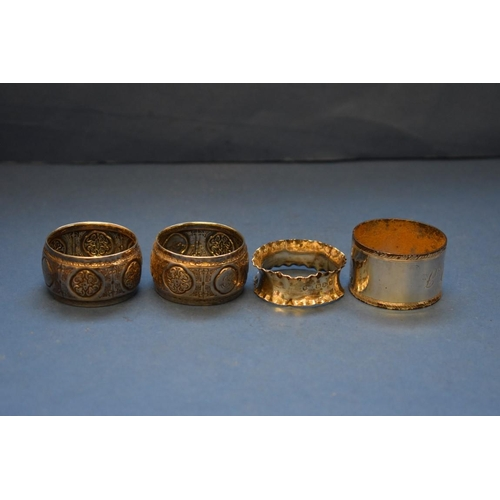 27 - <strong>A small quantity of silver items; </strong>to include: napkin rings; spoons etc, 384g weigha...