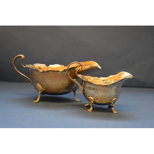 29 - <strong>Two silver sauce boats, </strong>one<em>Mappin &amp; Webb,</em> Sheffield 1925; the other<...