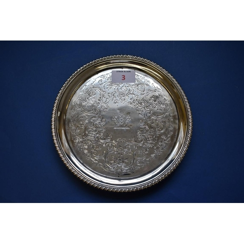 3 - <strong>A George III silver salver,</strong> <em>by Richard Sibley,</em>London 1819, having later d...