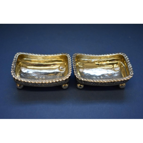 33 - <strong>A pair of 19th century Russian .84 silver salts, </strong>hallmarked for Moscow, 8.5cm....