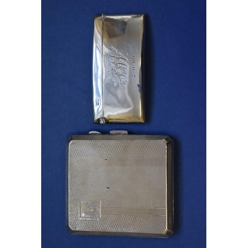 44 - <strong>An Edwardian silver card case,</strong> <em>by Rolason Bros, </em>Chester 1908; together wit...