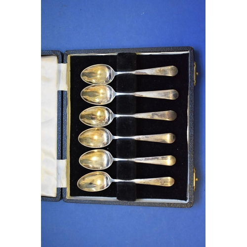 45 - <strong>A cased set of six silver coffee spoons,</strong><em> by Cooper Bros</em>, Sheffield 1944, 6...