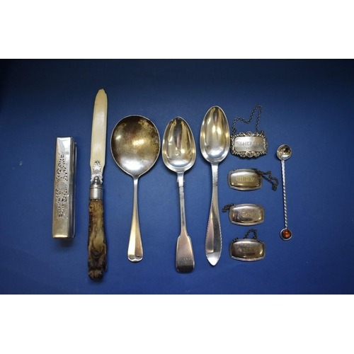 51 - <strong>A quantity of silver and other metal items,&nbsp;</strong>to include cased knives; scissors ...