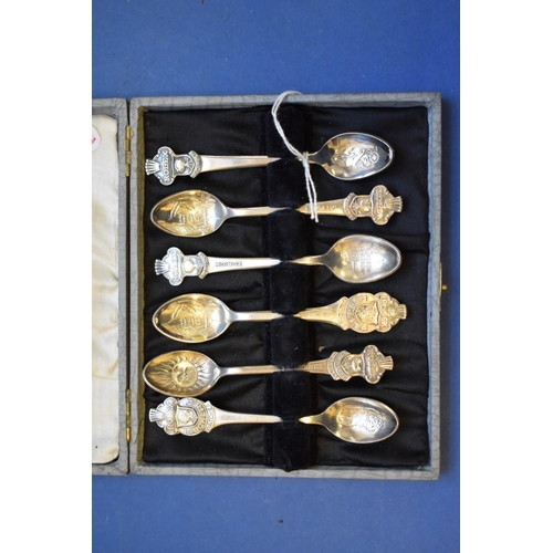 65 - <strong>A cased set of six silver plated Rolex teaspoons,</strong><em> by Boucherer of Switzerland.<...