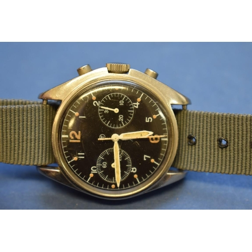 67 - <strong>A rare 1970s Hamilton Royal Navy pilot's stainless steel chronograph wristwatch, </strong>wi...