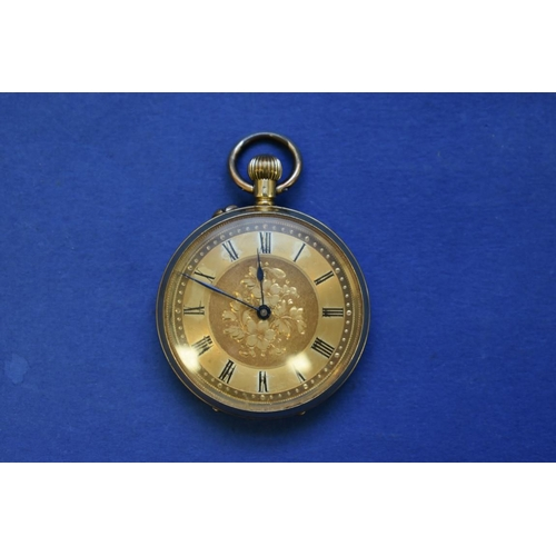 74 - <strong>An 18k gold open faced pocket watch, </strong>stem wound, having chased gold dial, 3cm....