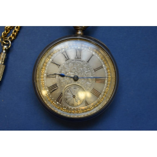 75 - <strong>A Victorian silver pocket</strong> <strong>watch,</strong> having Longines movement, case<e...