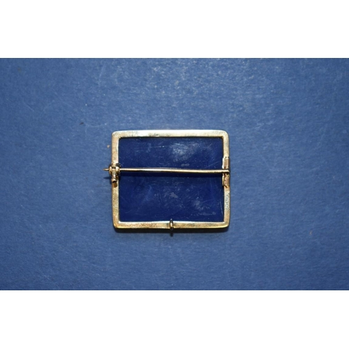 87 - <strong>A Grand Tour micro mosaic brooch, </strong>set in lapis lazuli, having unmarked mount, 3cm....