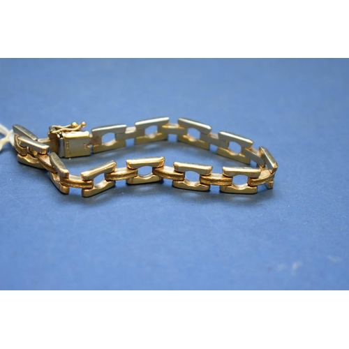 96 - <strong>A 9ct gold square link bracelet,</strong> 18cm, 13.5g....