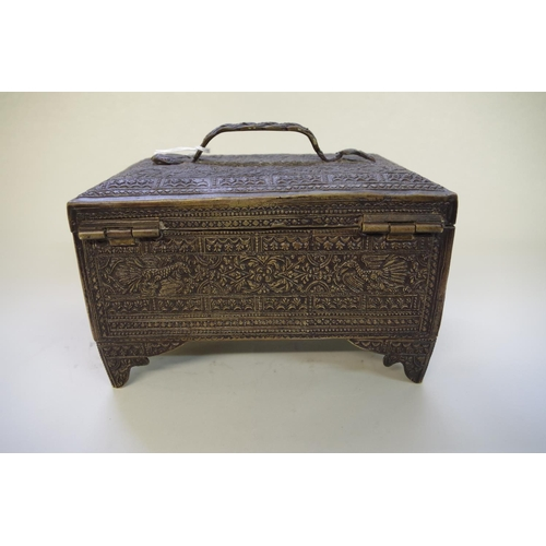 511 - <strong>An Indian bronze casket,</strong><em>mid-19th century,</em>decorated with bands of exotic ...