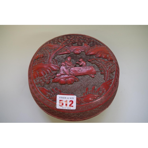 512 - <strong>A Chinese cinnabar lacquer circular box and cover</strong><em>, probably 19th century,&nbsp;...