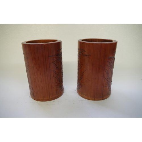 518 - <strong>A pair of Chinese carved bamboo brush pots <em>bitongs</em>,</strong> <em>19th century,&nbsp...