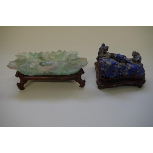 528 - <strong>A Chinese carved lapis lazuli figure group,&nbsp;</strong>with lion dogs and lingzhi fungus,...