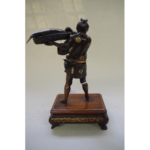 546 - <strong>A good Japanese bronze and gilt figure of a fisherman,</strong>&nbsp;<em>by&nbsp;Miayo Eisuk...