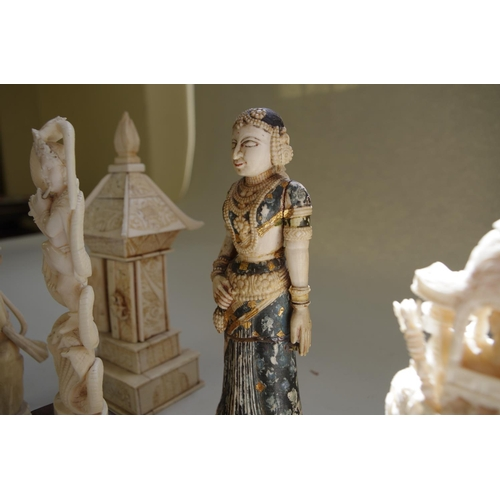 574 - <strong>An Indian ivory elephant and howdah figure group,</strong> 14cm high;&nbsp;<strong>together ...