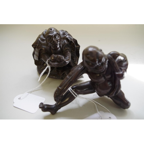 580 - <strong>A Japanese bronze figure of a crouching Samurai,</strong> 8.5cm high; together with another ...