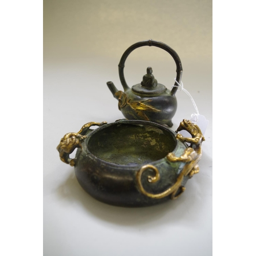 583 - <strong>A Chinese bronze and gilt bronze censer</strong>, <em>seal mark,</em> applied with two lingz...