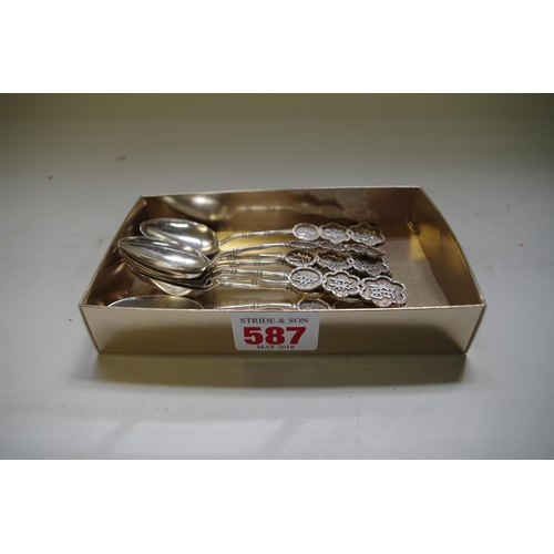 587 - <strong>Eight similar Chinese silver teaspoons,</strong> <em>five by Sing Fat; and three by Cumwo,<...
