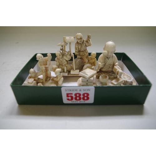 588 - <strong>Three Japanese carved ivory okimonos,</strong> <em>Meiji period,</em> largest 7.3cm wide. (3...