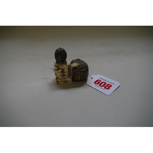 608 - <strong>A Japanese carved bone netsuke of a man with a wicker basket,</strong> signed, 4.4cm high....
