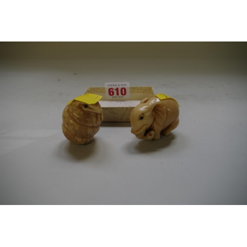 610 - <strong>Two Japanese vegetable ivory carvings,</strong> each with matching signatures, on modelled a...
