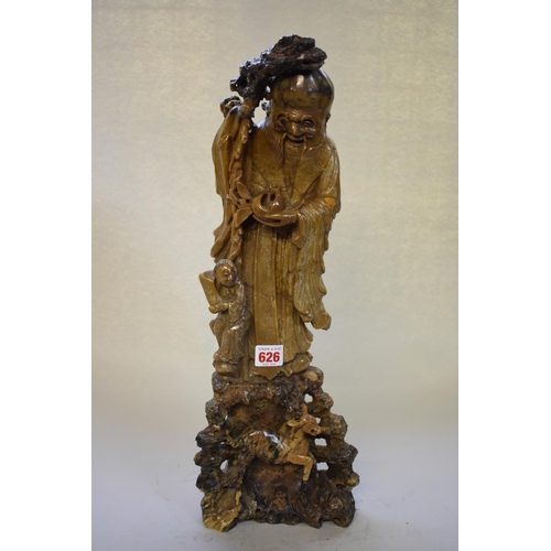 626 - <strong>A large Chinese carved soapstone figure of Shoulau,</strong> 51cm high....
