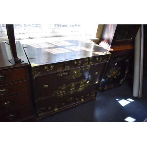 647 - <strong>An antique Korean elm and brass Tansu chest,</strong> 88.5cm wide....
