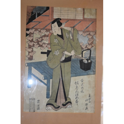 653 - <strong>Japanese School,</strong> <em>possibly 18th century,</em> a Samurai, and companion print, wo...