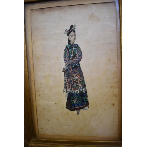655 - <strong>Chinese School,</strong> <em>19th century</em>, a set of six rice paper paintings, five depi...
