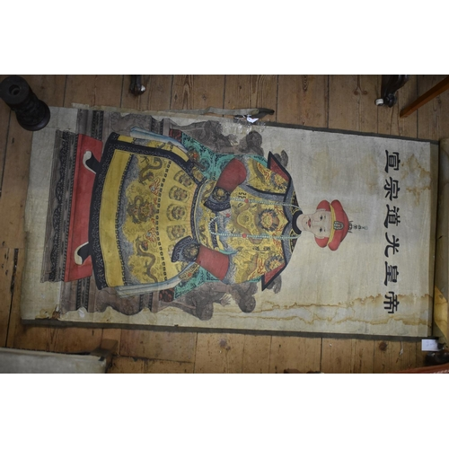 671 - <strong>Chinese School,</strong> <em>Qing dynasty,</em> an ancestor portrait scroll, watercolour, 12...