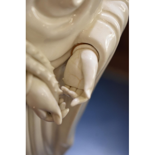 628 - <strong>Two Chinese blanc de chine figures of Guanyin,</strong> largest 46.5cm high. (2)...